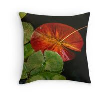 Complementary colors in the lily pad pond Throw Pillow