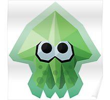 Splatoon Low-Poly Green Squid Poster