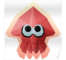 Splatoon Low-Poly Red Squid Poster