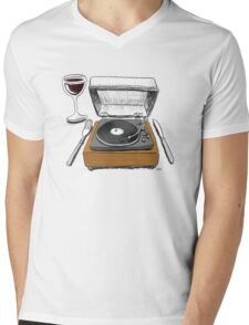 Dinner Music Mens V-Neck T-Shirt
