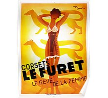 Vintage Fashion, French corset company, Art Deco Poster
