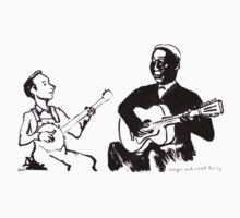 Young Pete Seeger and old Huddie Lead Belly by Joel Tarling