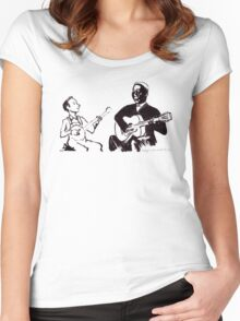 Young Pete Seeger and old Huddie Lead Belly Women's Fitted Scoop T-Shirt
