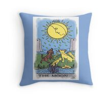 The Moon Tarot Card Blue Throw Pillow