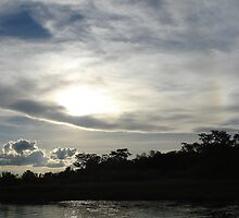 Cloudy sunset over Okavango River, Botswana, Africa by Irene  van Vuuren