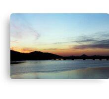 Sunset at the Bridge, 6 Canvas Print