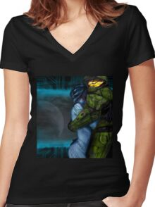 Cortana & Master Chief Women's Fitted V-Neck T-Shirt