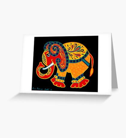 'Bobo The Elephant' - first in a new elephant series by Lisa Frances Judd. Greeting Card