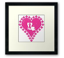 Think Pink Louisiana Fleur de Lis Heart Framed Print