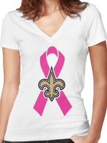 Breast Cancer Awareness Saints Women's Fitted V-Neck T-Shirt