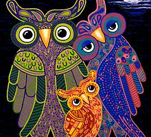 'Owl I Want Is You' - the cutest owl family ever! by Lisa Frances Judd ~ QuirkyHappyArt