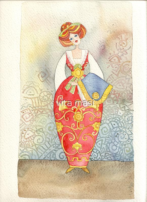 Illustration, Albanian traditional  costume by vimasi