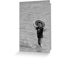 Boys Fun with Water and Rocks Greeting Card