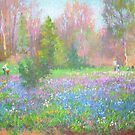 Bluebells blooming by Julia Lesnichy