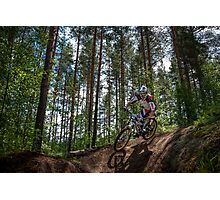 Biker on Trail Photographic Print