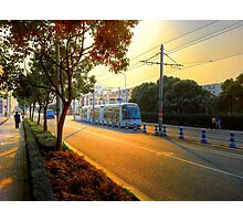Sunset&Trolley Photographic Print