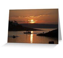 Orange Sunset - Bangor Harbour Northern Ireland Greeting Card