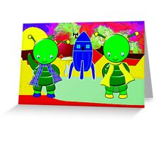 Green Alien Children Welcoming You to Their Home Greeting Card