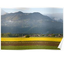 rapeseed field in Brnik with Kamnik Alps and Krvavec ski resort in the background, Slovenia. Poster