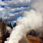 rainbow at yellowstone geyser by milena boeva