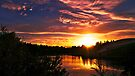 Fiery Sunset over Lake Whinfell by abinning