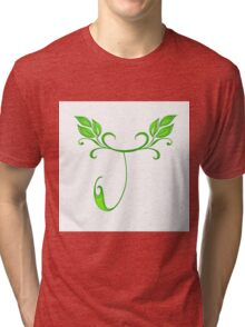 A letter J formed with leaves. Tri-blend T-Shirt
