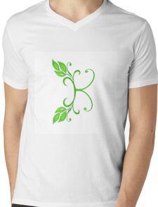 A letter K formed with leaves. Mens V-Neck T-Shirt