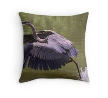 Great Blue Heron catching a CatFish Throw Pillow