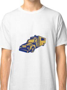 Ambulance Emergency Vehicle Truck Woodcut Classic T-Shirt