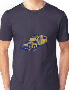Ambulance Emergency Vehicle Truck Woodcut Unisex T-Shirt