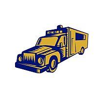 Ambulance Emergency Vehicle Truck Woodcut Photographic Print