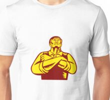 Businessman Arms Crossed Woodcut Unisex T-Shirt