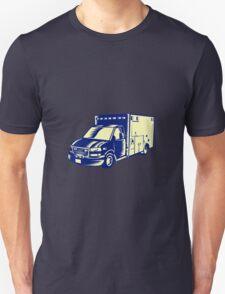 EMS Ambulance Emergency Vehicle Woodcut T-Shirt