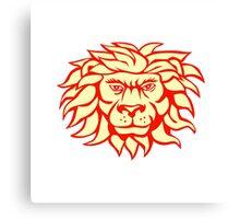 Angry Lion Big Cat Head Retro Canvas Print