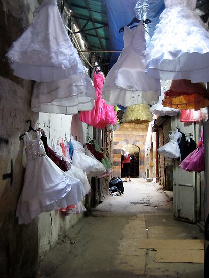 Dresses on display in Tripoli, Lebanon by Joumana Medlej