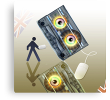 Cassette Tape Analogue Cartoon 4 Canvas Print