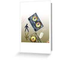 Cassette Tape Analogue Cartoon 4 Greeting Card