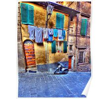 Wash Day In Siena Poster
