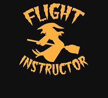 Witch on a broomstick FLIGHT INSTRUCTOR orange Womens Fitted T-Shirt