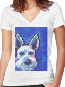 White Schnauzer Bright colorful pop dog art Women's Fitted V-Neck T-Shirt