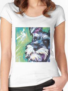 Schnauzer Bright colorful pop dog art Women's Fitted Scoop T-Shirt