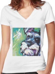 Schnauzer Bright colorful pop dog art Women's Fitted V-Neck T-Shirt