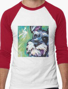 Schnauzer Bright colorful pop dog art Men's Baseball ¾ T-Shirt