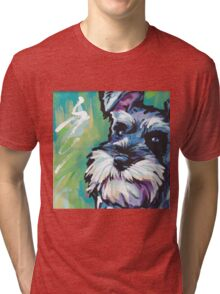 Schnauzer Bright colorful pop dog art Tri-blend T-Shirt