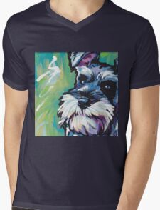 Schnauzer Bright colorful pop dog art Mens V-Neck T-Shirt