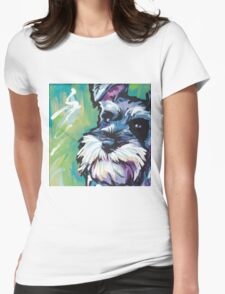 Schnauzer Bright colorful pop dog art Womens Fitted T-Shirt