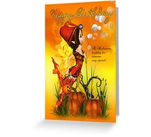 Halloween Birthday Fairy Blowing Bubbles Greeting Card