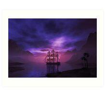 Clipper Ship at Sunset Art Print