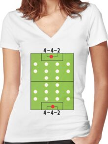 4 - 4 - 2 Football soccer formation Women's Fitted V-Neck T-Shirt