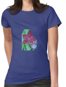 Terrestrial Pink Orchid Flower Womens Fitted T-Shirt